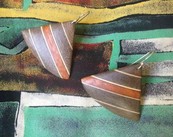 Vintage wood earrings c1980s, diagonal striped timber.