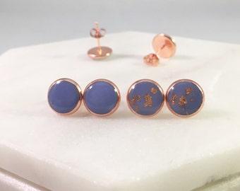 Purple X Rose Gold Stud Earrings