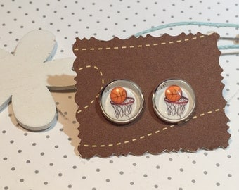 Stud Earrings cabochon basketball