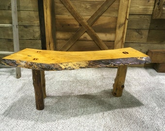 Rustic Maple Live Edge Bench 48""