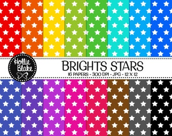 Buy 1 Get 1 Free!! 16 Bright Stars Digital Paper • Rainbow Digital Paper • Commercial Use • Instant Download • #STARS-101-2-B