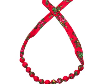 RED folk NECKLACE corals handmade etno scarf Poland with flowers