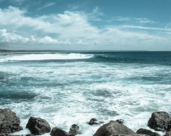 Portugal Photography, Lisbon Ocean Art Print, Waves, Water, Coastal Wall Decor, Beach Art, Travel Photo, Modern Minimalist, Turquoise Blue