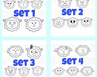 Emotional sheep - 20 stickers/each set
