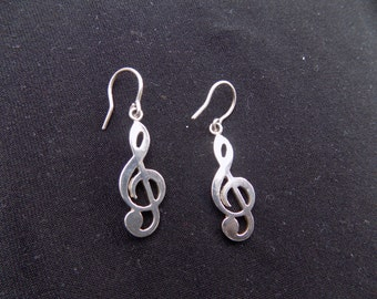 Treble cleft earrings. 950 silver. Hand-made. 1.5 inch. Rhodium plated silver