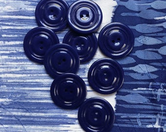 9 Vintage dark blue coat buttons c1950s-60s