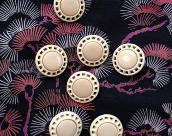 7 vintage pierced cream buttons c1950s-60s
