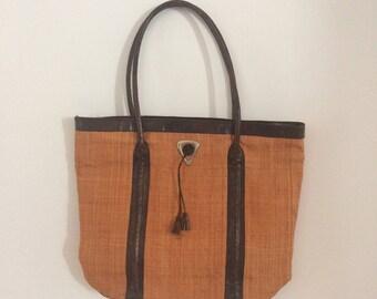 Vintage Wicker Orange Bag