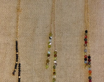Necklace gold plated tie or plate silver and semiprecious stones
