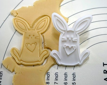 Bunny Holding Heart Cookie Cutter and Stamp