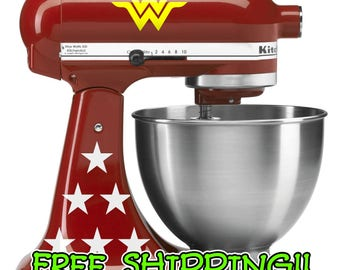 Wonder Woman KitchenAid stand mixer decal set.  Value edition with 2 logos and 12 stars!