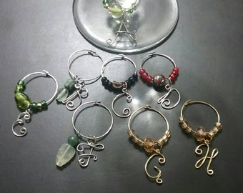 Monogram/Beaded Wine Glass Charms