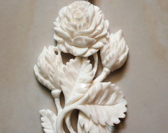 Rose Pendant from carved bone 2 (free Shipping)