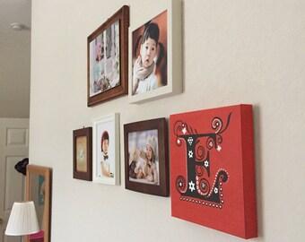 "Custom 12""x12"" Letter Initial Artwork, Wall Decor, Acrylic Painting"