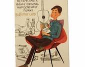 Vintage Unused Man Birthday Card, MCM Card, Funny Birthday Card, Retro Birthday Card, Masculine Card