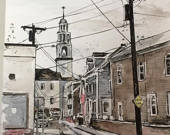 Gould Court - This is a Watercolor and Ink Painting of Could Court in Gloucester Massachusetts with the Church in the background. City Scape