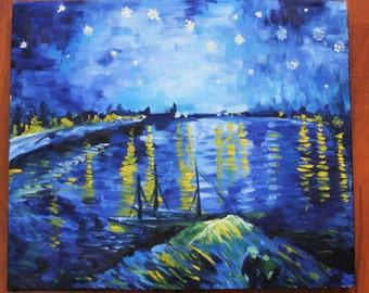 "Van Gogh's ""Starry Night Over the Rhône"" Oil replica"