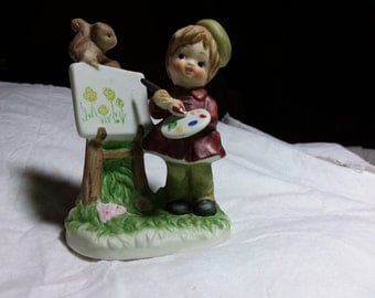 Vintage Lefton child artist. Painting outdoors. Estate found. Cute figurine