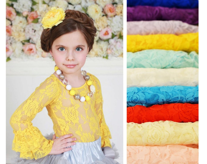 Baby Girls Lace Top, PICK COLOR, baby birthday top, baby cake smash top, baby girls long sleeve top, baby girls posh top, photography props