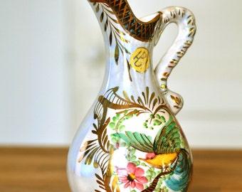 Vintage H. Bequet Quaregnon Pitcher, Vintage H. Bequet Vase, Quaregnon Pitcher, H. Bequet  Bird Pitcher