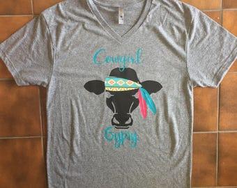 Cowgirl Gypsy Grey Vneck
