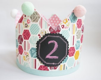 Princess Crown | Fabric Crown | Birthay Crown | Baby Crown | Half Birthday Crown | Girls Crown | Girl Birthday Crown | Pink Crown | Birthday