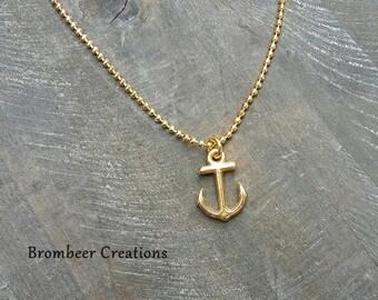 Maritime maritime chain, anchor chain, chain with anchor, present friend, golden chain, minimalistic, goldener Anker