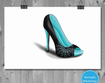 Digital Print, Neon Blue , Mandala, High Heel, Wall Art, Fashion Poster, Neon wall art, Shoe print, instant download, Prints, Mandala print