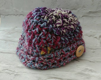 Women's crochet hat with button design. Chunky hand spun merino wool, colourful and warm. Birthday gift or mother's day gift.