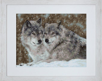 Counted Cross Stitch Kit Two Wolves Counted Cross Stitch Luca-S