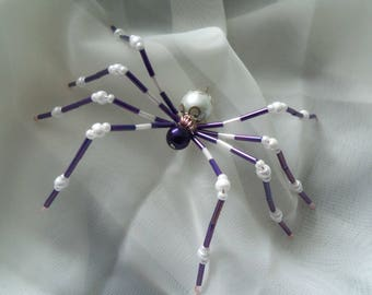 Purple and White Beaded Spider #12