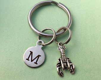 Lobster Keychain, Lobster Charm And Personalized Initial Keychain, You're My Lobster Keychain Gift,  Friends Saying  Gift