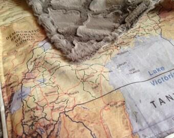 UGANDA map blanket - baby minky security blankie - small travel blanky, lovie, lovey, woobie - 13.5 by 16 inches