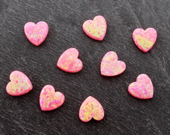 Pink Opal Heart Bead, 10mm, Lab Created