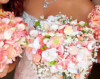 Beach Wedding Bouquet with shells, pearls, and gems