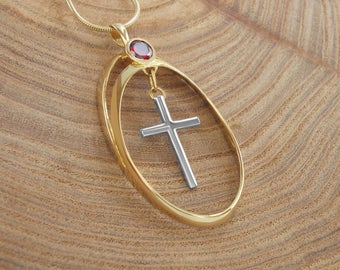 Silver cross necklace planted 14 k gold, blessed in the church of the holy sepulchre ,necklace, limited edition, religious necklace,