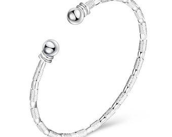 925 Sterling Silver Plated Solid Silver Cuff Bracelet Bangle   Minimalist Cuff Bracelet   Simple Silver Cuff Bracelet