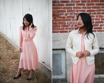 1960's Belted Peach Chiffon Dress