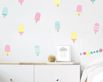 Ice cream wall decals, Baby Nursery Decals , Wall stickers, Vinyl decals, ice cream decals, baby girl decals, kids decals, kids wall art