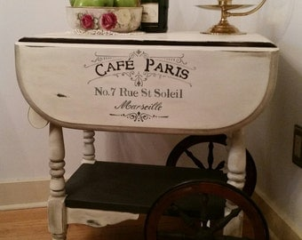 Tea Cart - Hand Painted Shabby Chic