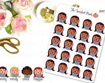 Excited Girl - Hand Drawn Planner Sticker Sheet