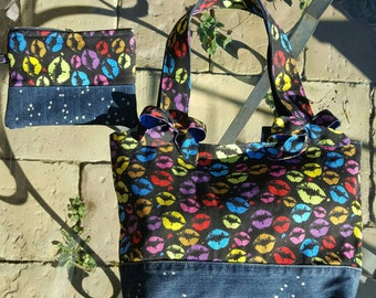 Fabric Bag full and jeans and clutch bag/purse/bag denim