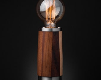 Tzalam and Stainless Steel Table Lamp