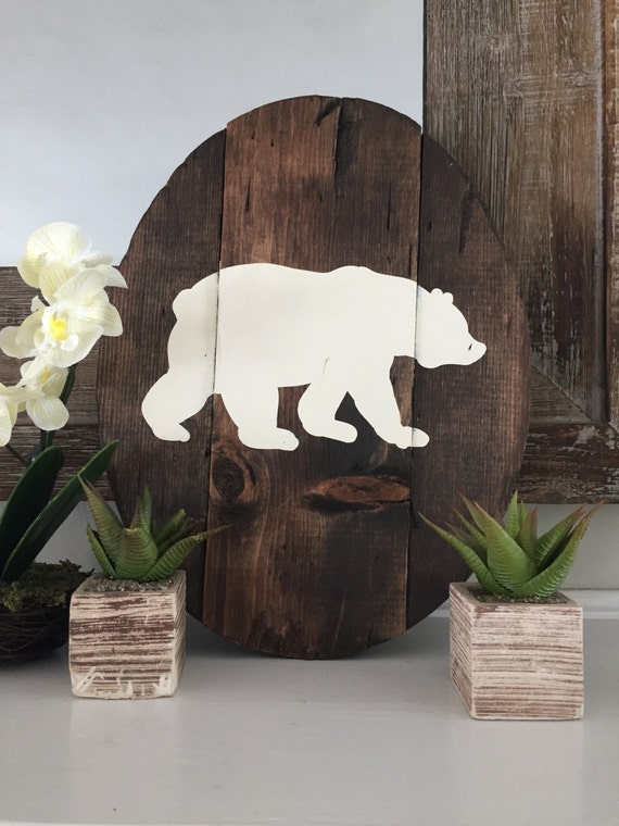 Rustic oval bear wooden wall decor woodland nursery for Rustic bear home decor