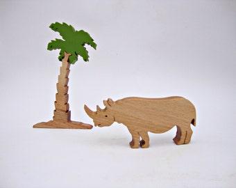 Set Animal Toy(rhinoceros) +Tree(palm) Waldorf Toys Waldorf Wooden Toys Nature Table Handmade Learning Toys Birthday Gift