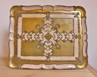 Vintage Italian Florentine tray former 70s Golden ecru Florentine tray seventies italian antique gold very beautiful MADE IN ITALY