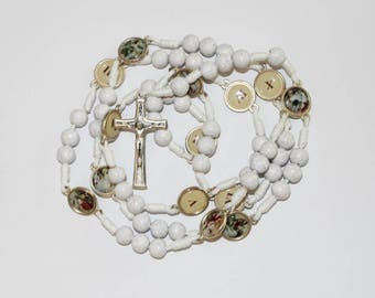 Stations of the Cross Rosary Rosaries made of White Wood Beads Handmade 24,4 Inc