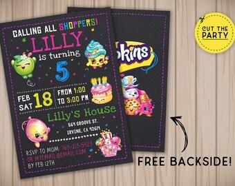Shopkins invitation, Shopkins birthday invitation, Shopkins chalkboard invitation, Shopkins party invitation
