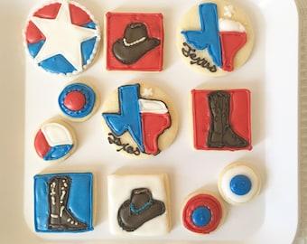Texas Cookies, Texas Sugar Cookies, Set of Eleven, Cowboy Hat Cookies, Cowboy Boot Cookies, Lone Star State, Lone Star Cookies