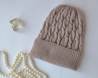 Knit cappuccino woman hat